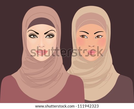 Portraits of two muslim beautiful girls in hijab, vector illustration - stock vector