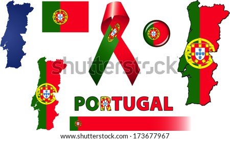 Portugal Icons. Set of vector graphic images and symbols representing Portugal. - stock vector