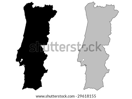 Portugal map. Black and white. Mercator projection. - stock vector
