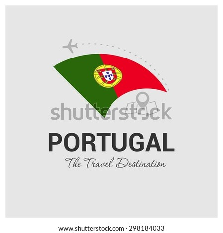 Portugal The Travel Destination logo - Vector travel company logo design - Country Flag Travel and Tourism concept t shirt graphics - vector illustration - stock vector