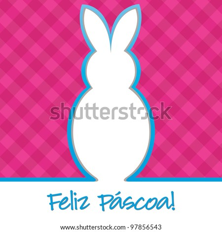 "Portuguese ""Happy Easter"" bright bunny cut out card in vector format. - stock vector"