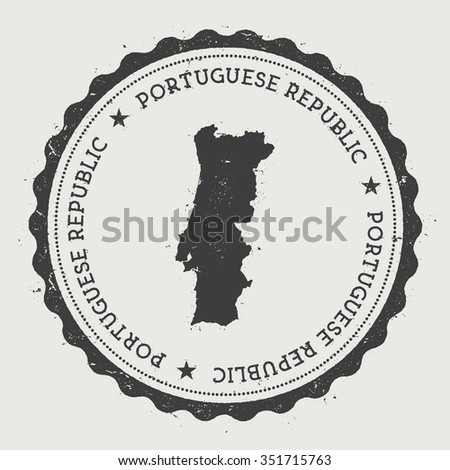 Portuguese Republic. Hipster round rubber stamp with Portugal map. Vintage passport stamp with circular text and stars, vector illustration - stock vector