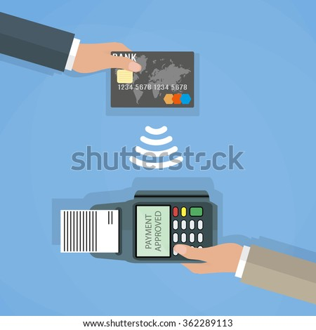 Pos terminal confirms the payment by debit credit card. Vector illustration in flat design on blue background. nfc payments concept - stock vector