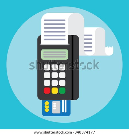 Pos terminal Illustration pos machine or credit card terminal. Concept of cashless payment and credit card payment. Credit card machine - stock vector