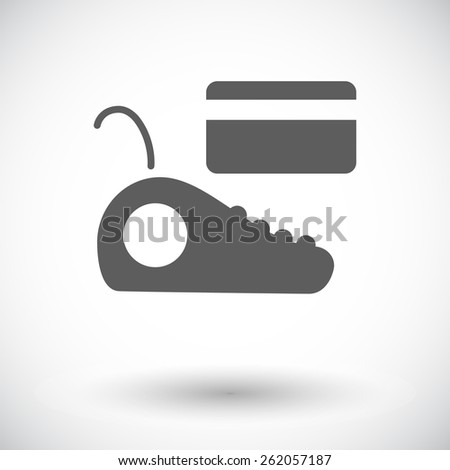 POS terminal. Single flat icon on white background. Vector illustration. - stock vector