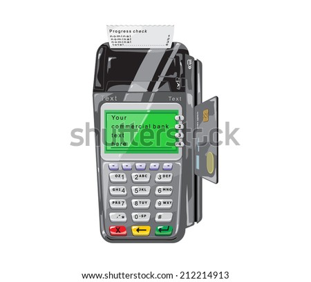 POS terminal with credit card and a check for white - stock vector