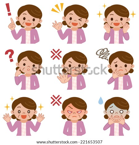 Pose a set of middle-aged women - stock vector