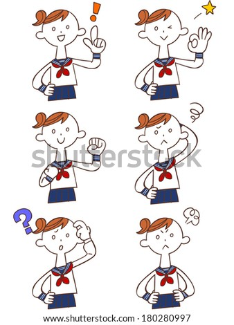 Pose and gesture of six female students of Japan - stock vector