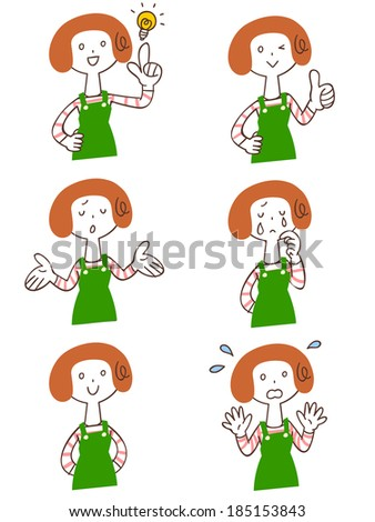 Pose and gesture of six women wearing an apron - stock vector