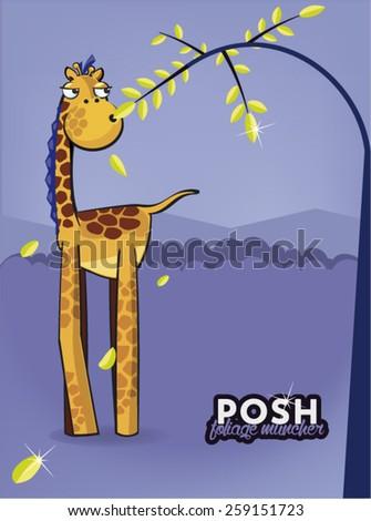 Posh giraffe vector illustration - stock vector