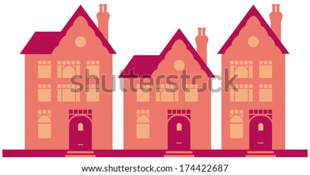 Posh Town Houses in street vector illustration - Fully adjustable and scalable. - stock vector