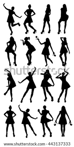 Posing woman silhouettes - stock vector