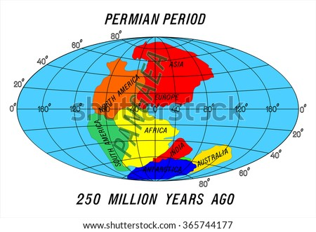 position Continents Permian Period - stock vector