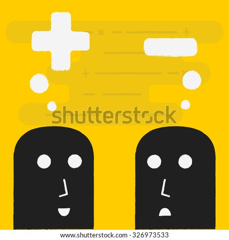 Positive and Negative Thinking. - stock vector