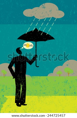 Positive Attitude A businessman holding an umbrella with a dark rain cloud over his head. He is thinking positively about the sun coming out soon. - stock vector