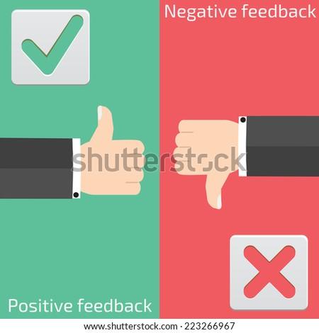 Positive feedback and negative feedback - stock vector