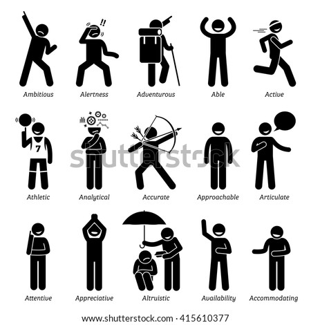 Positive Good Personalities Character Traits. Stick Figures Man Icons . Starting with the Alphabet A. - stock vector