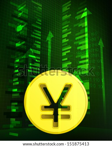 positive growth data with yuan coin vector illustration - stock vector