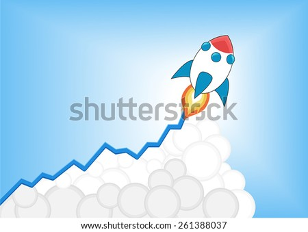 Positive increasing growth chart with launching cartoon rocket as infographic. Symbol for growth, goal setting, increase, stock market, career success, business expansion.  - stock vector
