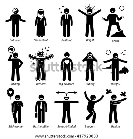 Positive Personalities Character Traits. Stick Figures Man Icons. Starting with the Alphabet B. - stock vector