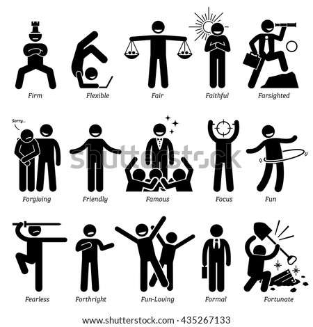 Positive Personalities Character Traits. Stick Figures Man Icons. Starting with the Alphabet F. - stock vector