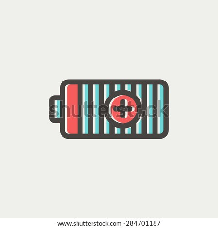 Positive power battery icon thin line for web and mobile, modern minimalistic flat design. Vector icon with dark grey outline and offset colour on light grey background. - stock vector