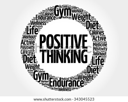Positive thinking circle word cloud, health concept - stock vector