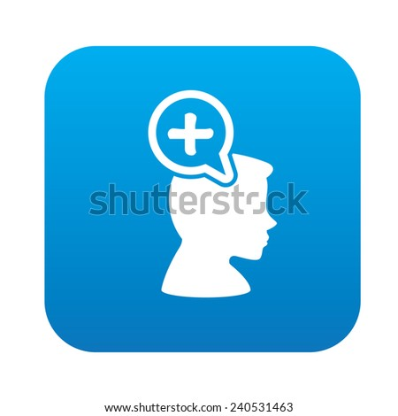 Positive thinking design on blue flat button,clean vector - stock vector