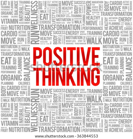 Positive thinking word cloud background, health concept - stock vector