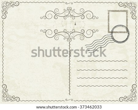 Post Card illustration with post stamps and swirl elements.  - stock vector
