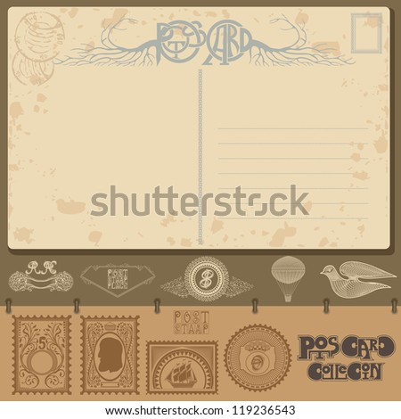 post card sample with post element and stamp - stock vector