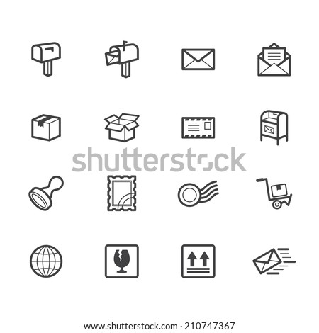 post element vector black icon set on white background - stock vector