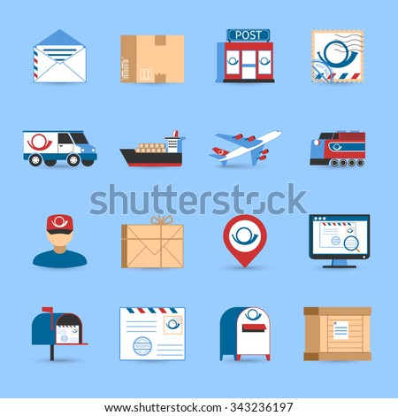 Post icons set with plane train and truck transportation symbols on blue background flat isolated vector illustration  - stock vector