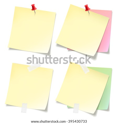 Post-it  stickers collection. Yellow pink and green sticky note papers with curled corners pined on board. Paper sheet for reminder and memo. - stock vector
