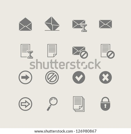 post. set of simple icons. Vector Illustration. - stock vector