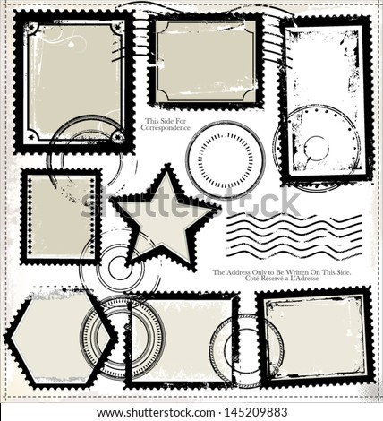 Post stamp set - stock vector
