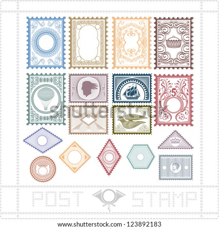 post stamp with pattern and object - stock vector
