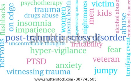 Post-Traumatic Stress Disorder Word Cloud on a white background.  - stock vector
