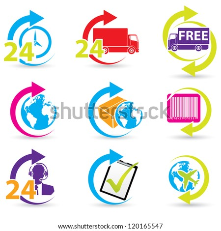 Postage and support related icon set of 9 - stock vector