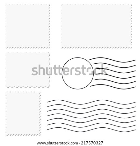 postage stamp + postmark - stock vector