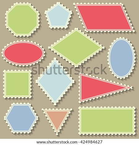 Postage stamp set. Flat design with shadow. Vector illustration.  - stock vector