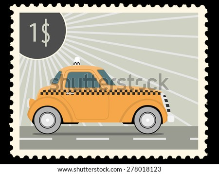 Postage stamp with retro taxi cars. Vector illustration - stock vector