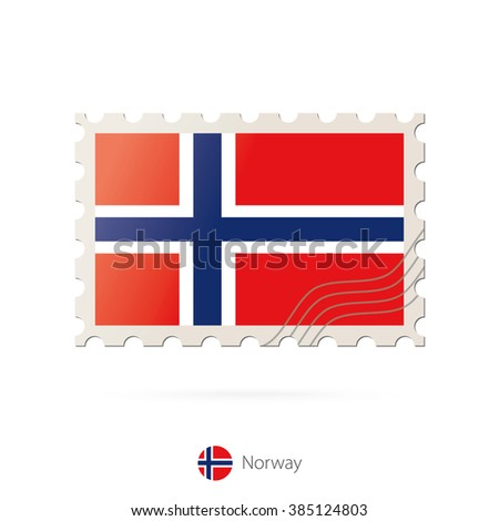 Postage stamp with the image of Norway flag. Norway Flag Postage on white background with shadow. Vector Stamp. Postage stamp and Norway flag. Vector Illustration. - stock vector