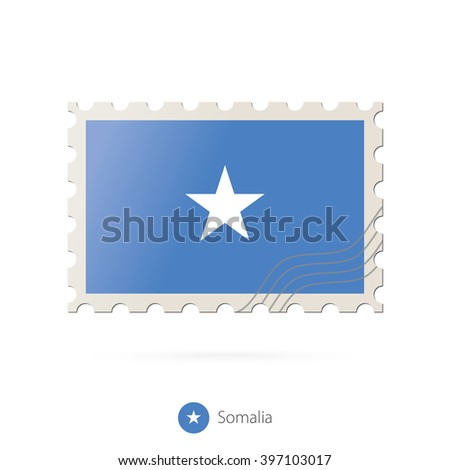 Postage stamp with the image of Somalia flag. Somalia Flag Postage on white background with shadow. Vector Illustration. - stock vector
