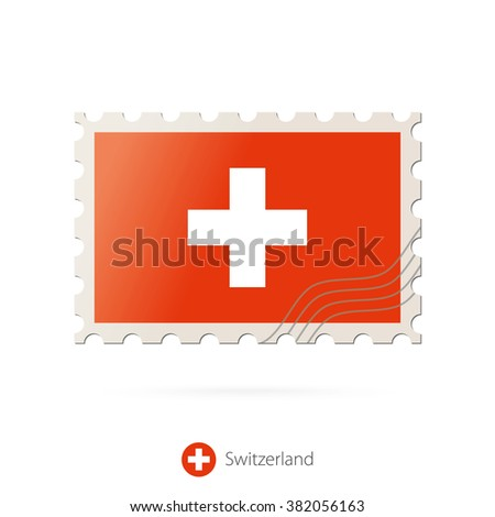 Postage stamp with the image of Switzerland flag. Switzerland Flag Postage on white background with shadow. Vector Stamp. Postage stamp and Switzerland flag. Vector Illustration. - stock vector