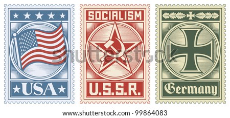 postage stamps collection (usa, ussr and germany design) - stock vector
