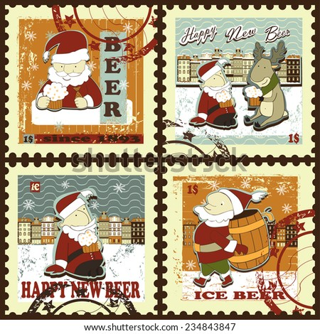Postage stamps for Christmas and New Year. Set contains postage stamps with images of  Santa with beer mug and barrel, snowflakes, town, price and text. Vintage style. - stock vector