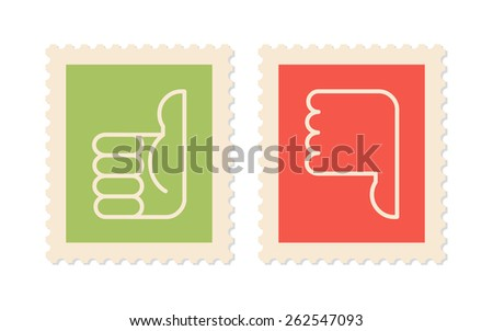 Postage stamps with symbols thumbs up, thumbs down, two vector icons - stock vector