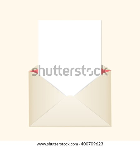 Postal clean envelope with piece of paper for greeting cards or for your wedding invitations or thank you cards.  - stock vector