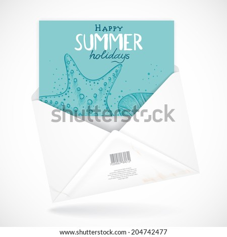 Postal Envelopes With Greeting Card. Vector Illustration. Eps 10 - stock vector